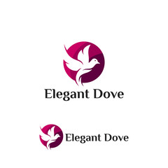 Purple Elegant Dove Logo template designs