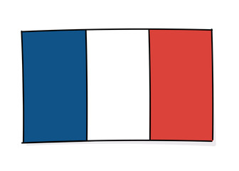French flag icon doodle. Vector illustration