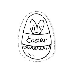 Hand drawn Easter related icon sticker - egg decorated with doodle elements. Vector illustration Cartoon spring holiday concept. Decoration colorful eggs, with cute borders, girly sketch style