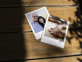 Instant image prints of old people moments
