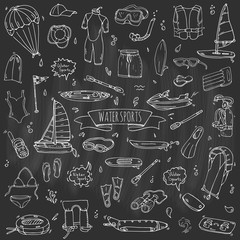 Hand drawn doodle Water sports icons set. Vector illustration, isolated symbols collection, Cartoon various elements: jetski, wakeboard, waterski, surfing, kayak, kitesurfing, paddle, parasailing