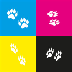 Animal Tracks sign. Vector. White icon with isometric projections on cyan, magenta, yellow and black backgrounds.