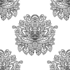 Vector illustration Indian hand drawn hamsa symbol. Coloring page in zentangle inspired style, isolated on white background. Hand drawn sketch for adult antistress coloring page, T-shirt