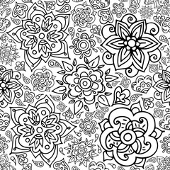 Floral seamless pattern with doodle flowers and leaves.Vector hand drawn pattern. Seamless pattern can be used for wallpapers, pattern fills, web page backgrounds, coloring book page.
