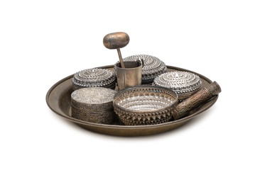receptacle for betel, silver bowl use to containing betel leaves and areca nuts ready for consumption