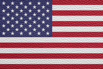 usa flag painted on leather texture