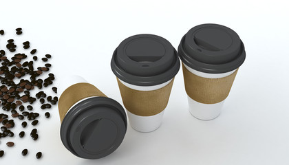 3D Rendering, Coffee cup and coffee beans.