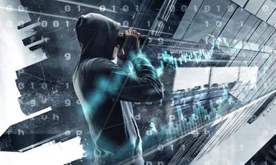 Wall Mural - Be aware of hacker attack . Mixed media