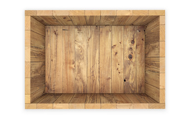 Wooden crate isolated on white. clipping path. 3d rendering
