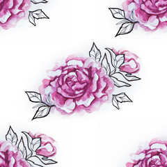 Seamless pattern of a red peony on a white background.