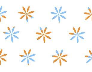 Seamless simple flat pattern with light blue and orang spring flowers on a white background.