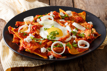 Mexican nachos with tomato salsa, chicken and egg close-up. horizontal