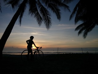Cycling to a seaside in the Gulf of Thailand.