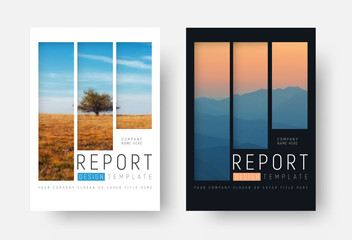 set of white and black report covers with a landscape and mountains in a minimalist style