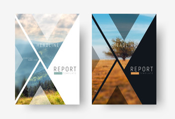 Cover template for a report in a minimalistic style with triangular design elements for a photo.