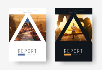 Design of modern flyers with triangles for photos.