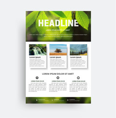 Design flyer A4. A brochure template with a photo of a leaf, a waterfall and a mountain