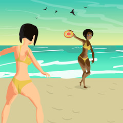 Two young women in a bikini throw a flying disk on the beach. Gi