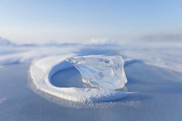 Ice floe. Baikal lake. Winter nature
