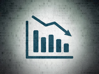 Finance concept: Decline Graph on Digital Data Paper background