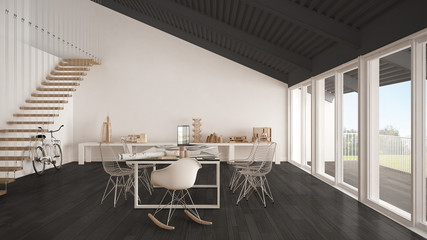 Minimalist white and gray office, architect and planning department, scandinavian interior design