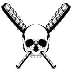 A human skull and two crossed baseball bats covered with barbed wire