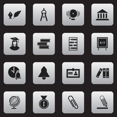 Set Of 16 Editable School Icons. Includes Symbols Such As Literature, Arithmetic, Staple And More. Can Be Used For Web, Mobile, UI And Infographic Design.