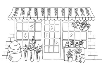 Flower shop graphic black white sketch illustration vector