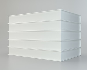 white stack of books on gray background. 3d rendering.