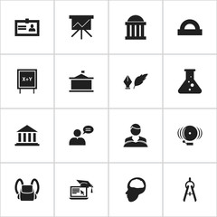Set Of 16 Editable School Icons. Includes Symbols Such As Museum, Cerebrum, Schoolbag And More. Can Be Used For Web, Mobile, UI And Infographic Design.
