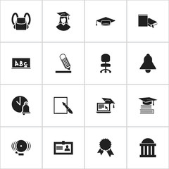 Set Of 16 Editable University Icons. Includes Symbols Such As Schoolbag, Writing, Graduate And More. Can Be Used For Web, Mobile, UI And Infographic Design.