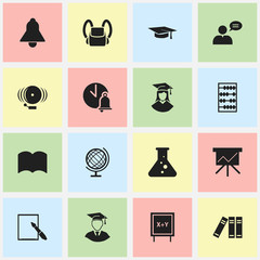 Set Of 16 Editable Education Icons. Includes Symbols Such As Dictionary, Graduated Female, Bookshelf And More. Can Be Used For Web, Mobile, UI And Infographic Design.