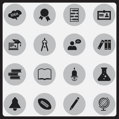 Set Of 16 Editable Graduation Icons. Includes Symbols Such As Arithmetic, Math Tool, Bookshelf And More. Can Be Used For Web, Mobile, UI And Infographic Design.
