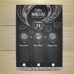 Chalk drawing. Coffee menu design. Decorative sketch of cup of coffee or tea