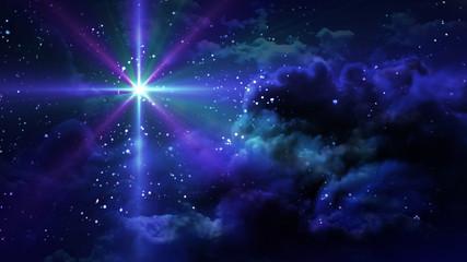 purple flare star at starry night