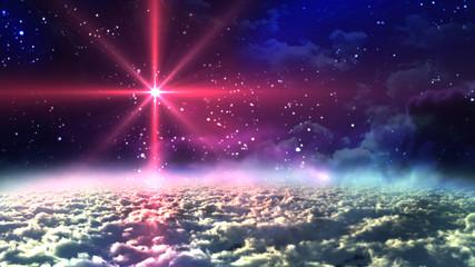 red star at night