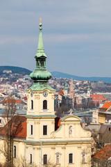 Saint Catherine of Alexandria Church and Buda bank of Danube, view from Gellert hill in Budapest, Hungary. Alexandriai Szent Katalin templom