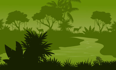 River on the forest scenery silhouettes