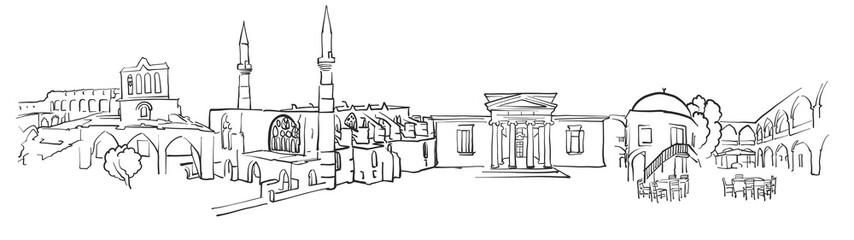 Nicosia.Cyprus Panorama Sketch