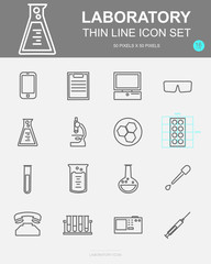 Set of Laboratory Vector Line Icons. Includes experiment, research, chemistry, chemical and more. 50 x 50 Pixel.