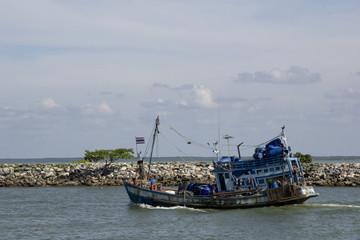 Fishing boat departs
