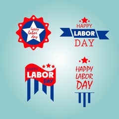 set of happy labor day icons