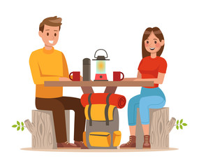 Family lifestyle. Family travel time. Happy family go to Camping. Vector illustration design. no7
