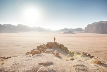 Traveler staring at the Wadi Rum desert.