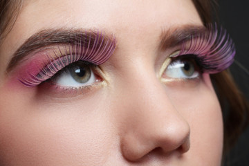 Eye makeup with extended eyelashes close-up