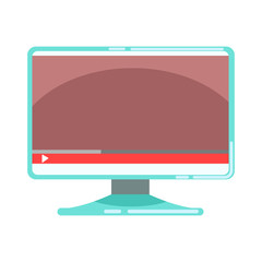 Computer monitor with media player interface. Colorful cartoon vector Illustration
