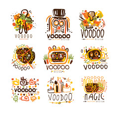 Voodoo and magic set for label design. Spiritual, magical, cultural vector Illustrations