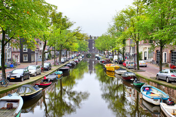 Wall Mural - View of Amsterdam canal