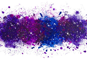 Abstract artistic watercolor paint splash background, galaxy with glowing stars