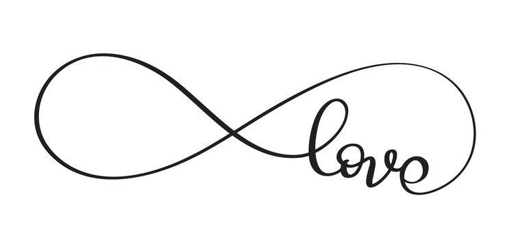 Love word In the sign of infinity. Vector calligraphy and lettering EPS10